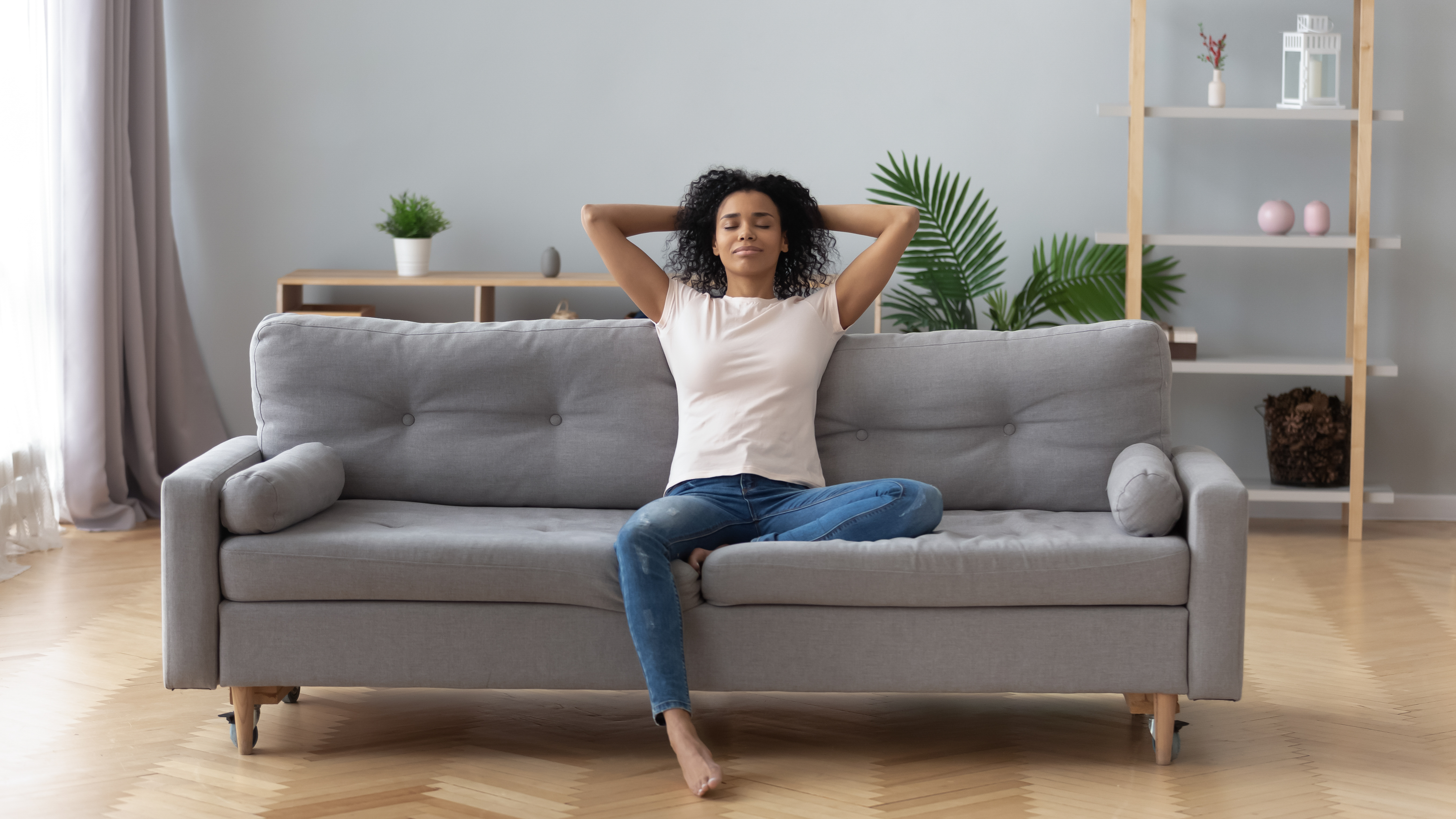 Lady relaxing on couch
